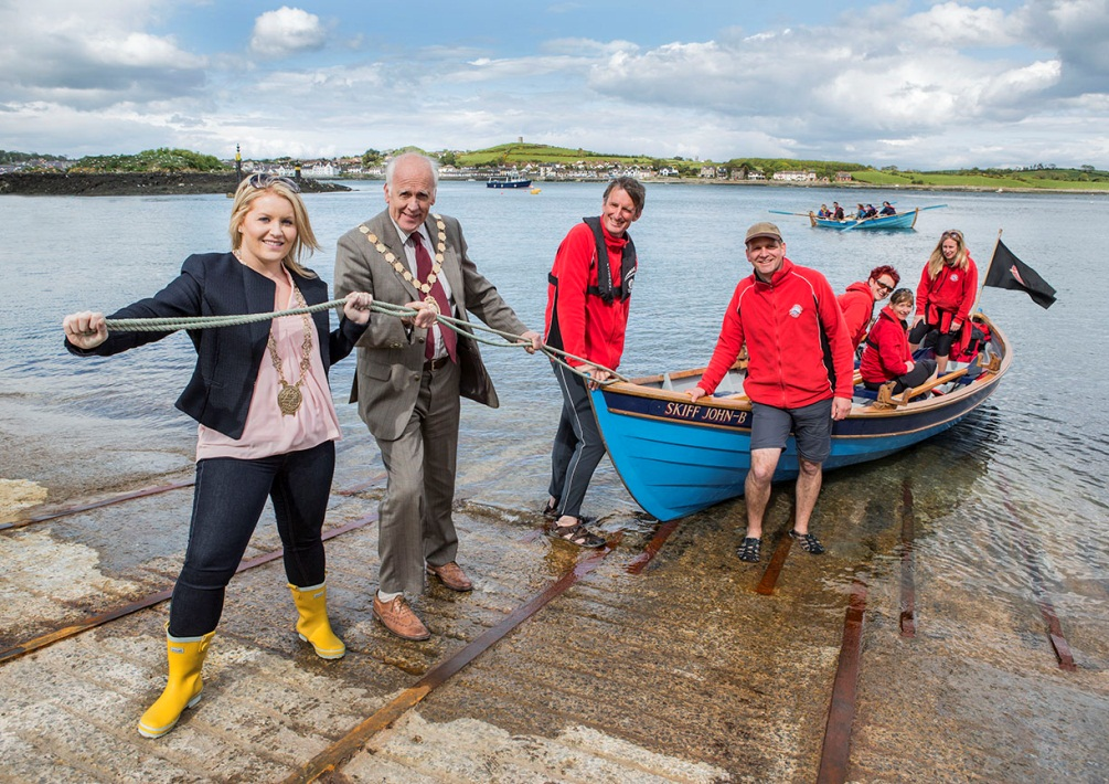 Newry, Mourne & Down District Council Chairwoman Naomi Bailie, Mayor of Ards & North Down Borough Council, Alan Graham, with Robbie Wightman, SCRA and crew members from North Berwick Scotland.